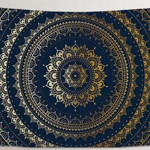 Blue Gold Mandala Tapestry